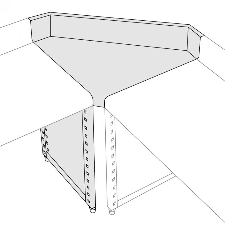 Plan de travail angle intérieur tronqué - 15°, 30°, 45°, 90°