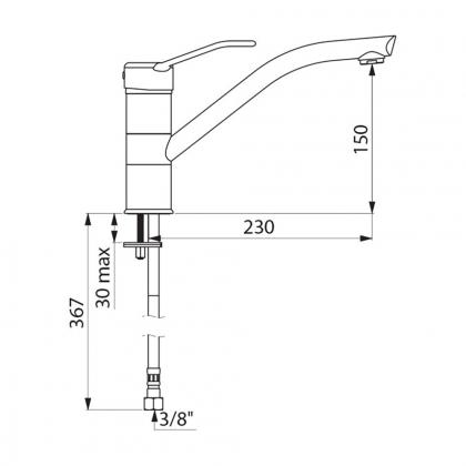 Mitigeur haut - h210mm