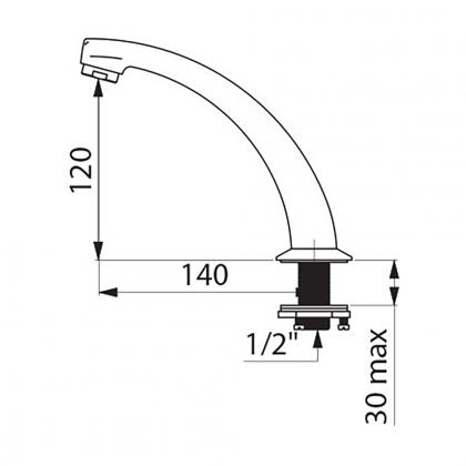 Bec fixe - h140mm