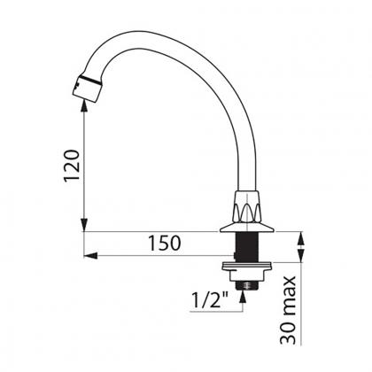Bec col de cygne orientable - h140mm