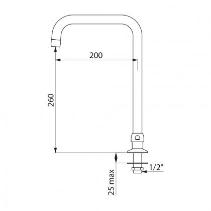 Bec tube mobile H.260mm