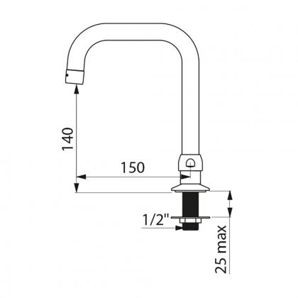Bec tube mobile H.140mm