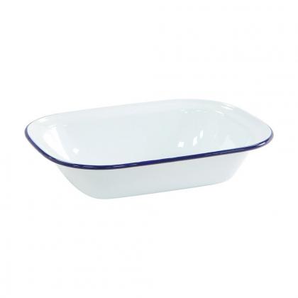 Ramequin rectangulaire en métal émaillé blanc bordure bleue 20ml