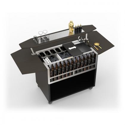Bar Mobile Dandy modèle octogonal noir avec surpiste et grille