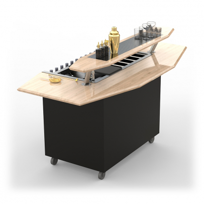 Bar Mobile Dandy modèle octogonal clair avec surpiste et grille