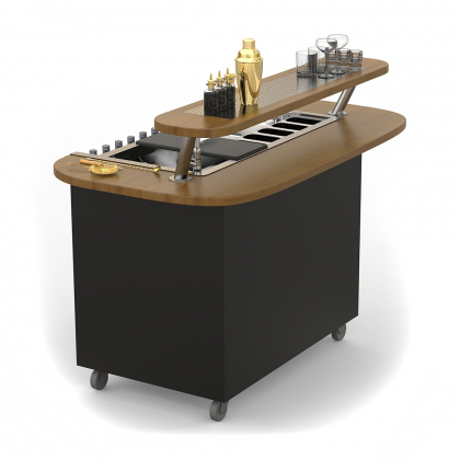 Bar Mobile Dandy modèle arrondi teinte noyer avec surpiste et grille
