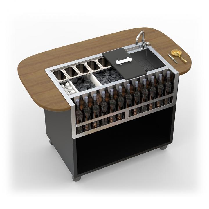 Bar Mobile Dandy modèle arrondi teinte noyer