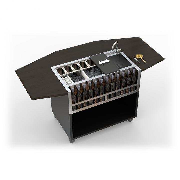 Bar Mobile Dandy modèle octogonal noir