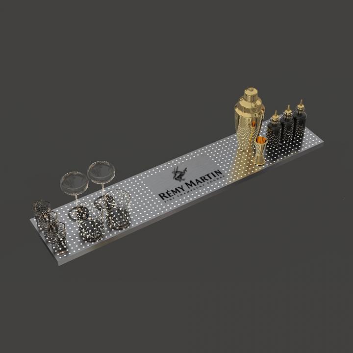 Grille de surpiste bar mobile lumineuse avec gravure logo