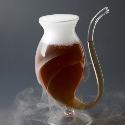 Verre à Cocktail Gros Chat 170 ml avec paille en verre