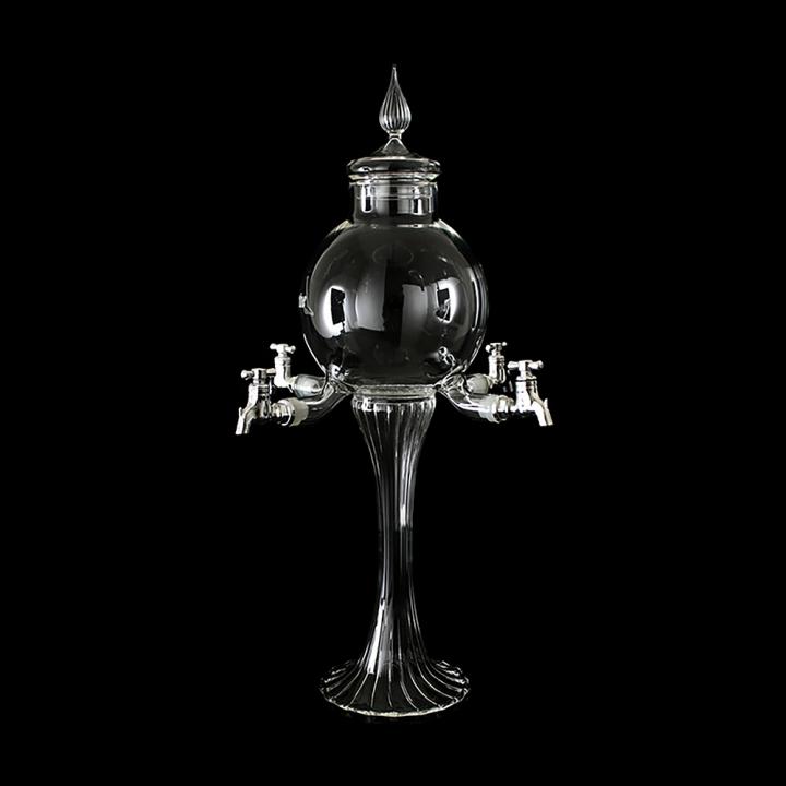 """Fontaine à Absinthe  H 44 cm en verre soufflé 1000 ml """"Alchemilla"""", 4 robinets"""