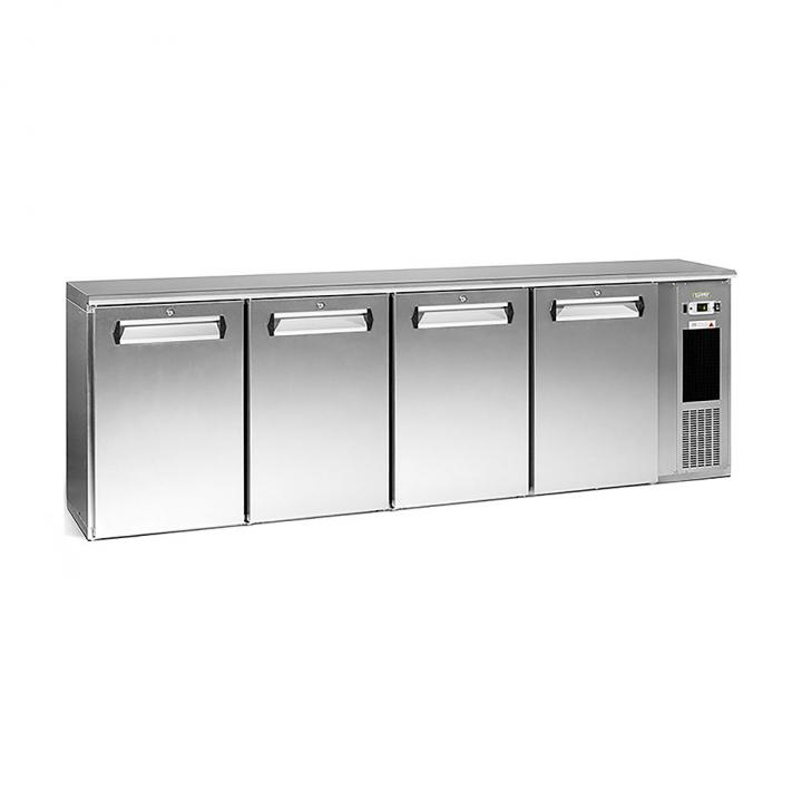 Arrière bar réfrigéré 630 L, 4 portes inox, Ecoline