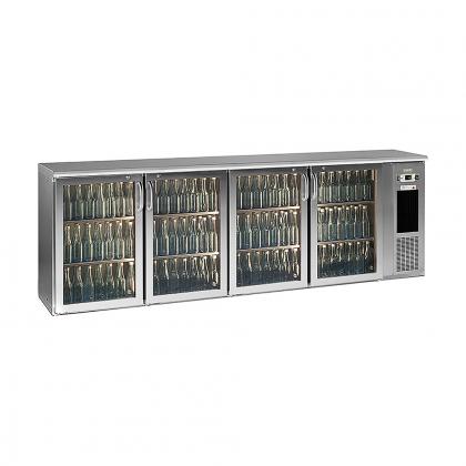 Arrière bar réfrigéré 630 L, 4 portes vitrées inox, Ecoline
