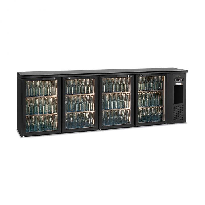 Arrière bar réfrigéré 630 L, 4 portes vitrées anthracite, Ecoline