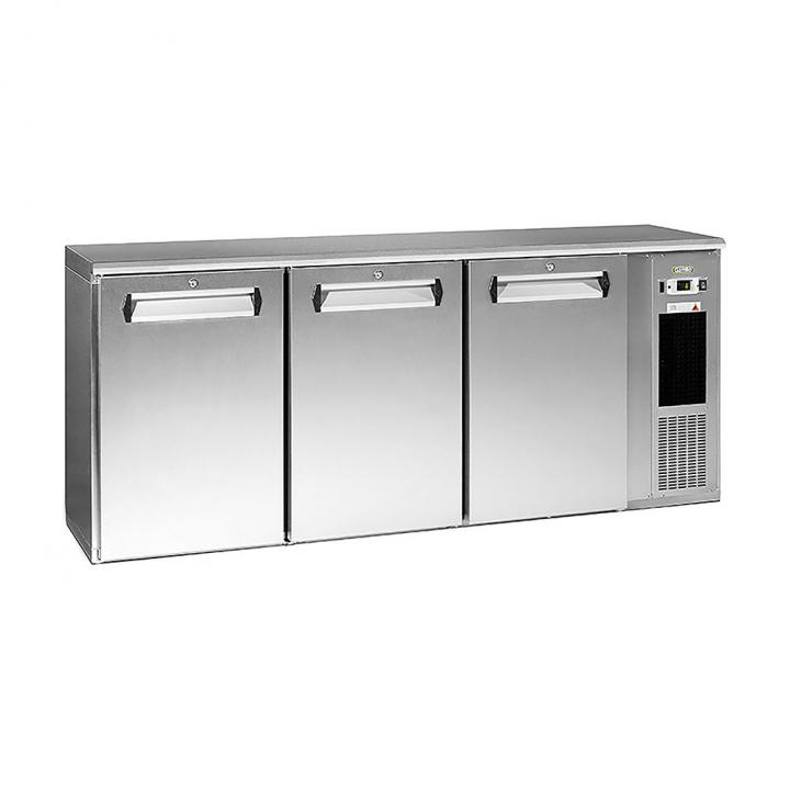 Arrière bar réfrigéré 537 L, 3 portes inox, Ecoline