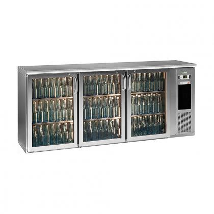 Arrière bar réfrigéré 537 L, 3 portes vitrées inox, Ecoline
