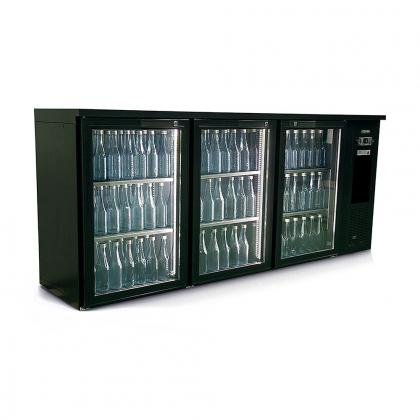 Arrière bar réfrigéré 537 L, 3 portes vitrées anthracite, Ecoline