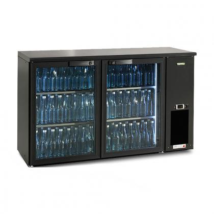 Arrière bar réfrigéré 364 L, 2 portes vitrées anthracites, Ecoline