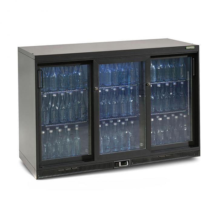 Vitrine réfrigérée basse 315 L, 3 portes coulissantes anthracite, Maxiglass