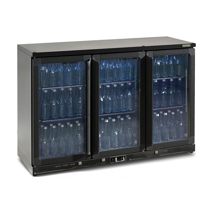 Vitrine réfrigérée haute 315 L, 3 portes vitrées anthracite, Maxiglass