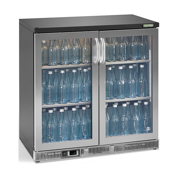 Vitrine réfrigérée haute 250 L, 2 portes vitrées inox, Maxiglass