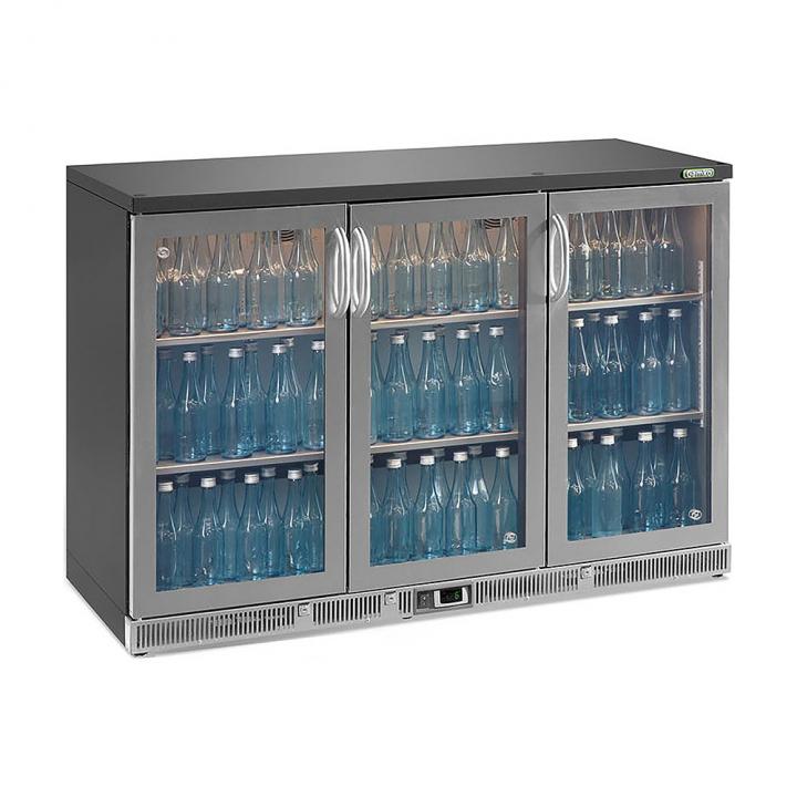 Vitrine réfrigérée haute 315 L, 3 portes vitrées inox, Maxiglass