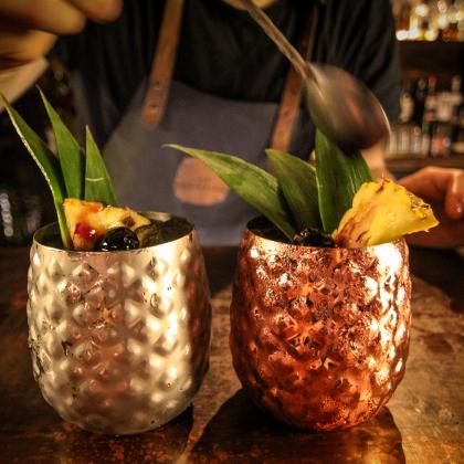 Mug ananas 440 ml en métal en finition cuivre