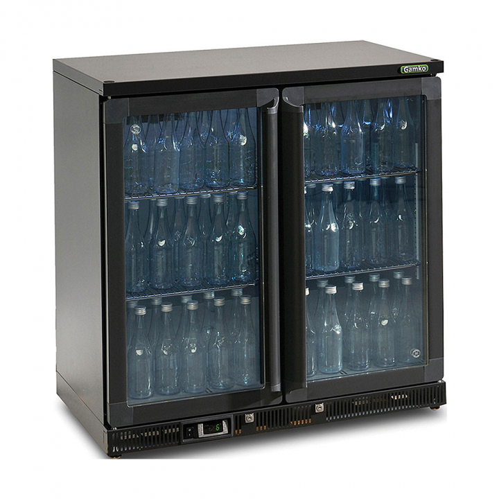 Vitrine réfrigérée basse 250 L, 2 portes vitrées anthracite, Maxiglass