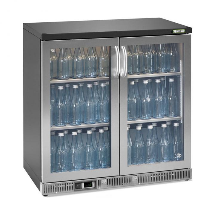 Vitrine réfrigérée basse 250 L, 2 portes vitrées inox, Maxiglass
