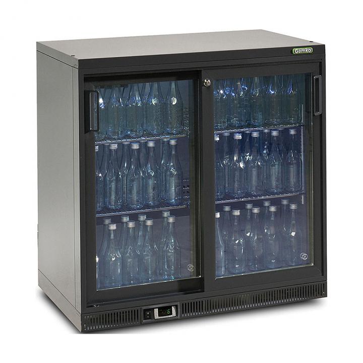 Vitrine réfrigérée basse 250 L, 2 portes coulissantes anthracite, Maxiglass