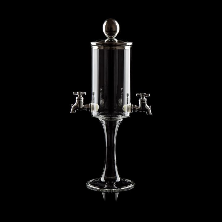 "Fontaine à Absinthe  H 39 cm en verre soufflé 800 ml ""Calluna trio"", 2 robinets"