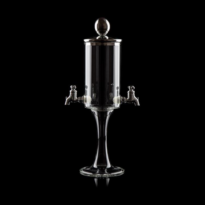 """Fontaine à Absinthe H 32 cm en verre soufflé 400 ml """"Sylibum trio"""", 2 robinets"""