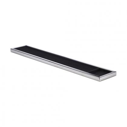 Tapis de bar en caoutchouc noir structure inox 60,5x10cm