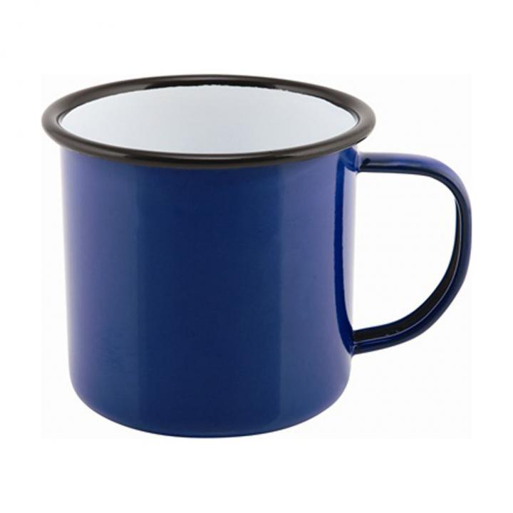 Timbale avec anse 360 ml en métal émaillé bleu buvant noir