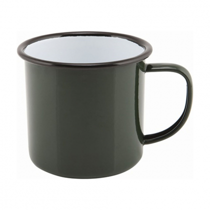 Timbale avec anse 360 ml en métal émaillé vert buvant noir