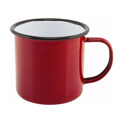 Timbale avec anse 360 ml en métal émaillé rouge buvant noir