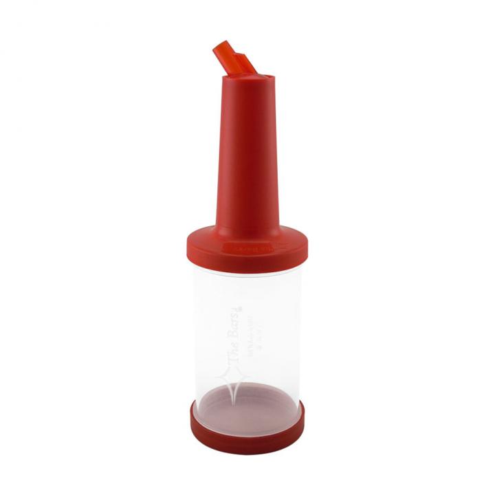 Store n pour débit rapide 1L plastique transparent, bec, col et bouchon rouges
