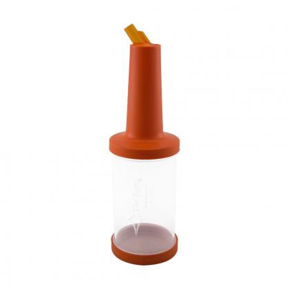Store n pour débit rapide 1L plastique transparent, bec, col et bouchon oranges